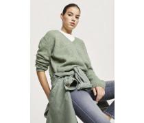 V-Pullover aus Royal Baby Alpaka Mix grass green