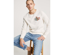 Sweatshirt mit Stickerei ivory