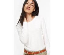 Langarmshirt aus Melange Jersey wool white