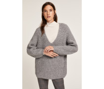 V Pullover aus Royal Baby Alpaka Mix grey heather melange