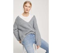 V-Pullover aus Alpaka Mix grey heather melange