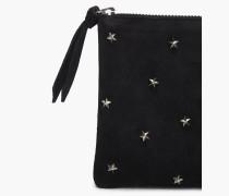 Tasche aus Veloursleder mit Sternchen off black