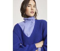 V-Pullover aus Baumwollstrick purple dusk
