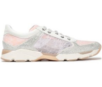 Woman Paneled Embellished Suede, Leather And Lace Sneakers White