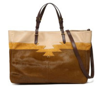 Leather, suede and calf hair tote