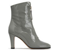 Patent-leather Ankle Boots Gray