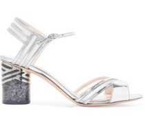 Mesh-trimmed mirrored leather sandals