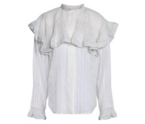 Ruffle-trimmed Pleated Ramie Shirt White