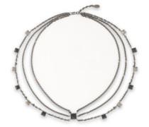 Woman Gunmetal-tone Studded Necklace Black
