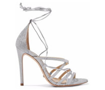 Tatiana lace-up glittered and metallic leather sandals