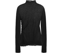 Ruffle-trimmed Knitted Top Black