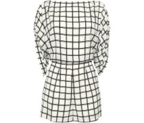 Open-back Checked Crepe Playsuit White