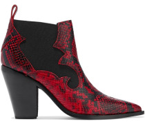 Kaleb Snake-effect Leather Ankle Boots