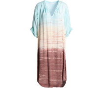 Shay Asymmetric Tie-dyed Washed-crepe Dress Sky Blue