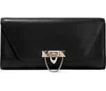 Stud-embellished Leather Clutch Black Size --