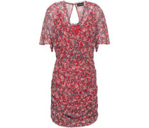 Ruched Floral-print Silk-georgette Mini Dress Red
