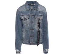 Distressed Glittered Denim Jacket Mid Denim
