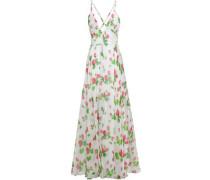 Floral-print Silk-voile Halterneck Maxi Dress White