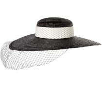 Woman Grosgrain-trimmed Straw And Fishnet Sunhat Black