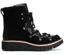 Shearling-lined Leather And Suede Ankle Boots Black