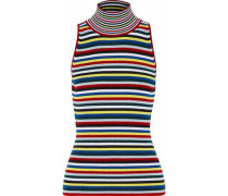 Striped Ribbed Wool Turtleneck Top Multicolor
