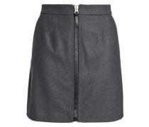 Wool-blend mélange mini skirt
