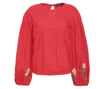 Latai Embroidered Cotton-poplin Blouse Tomato Red