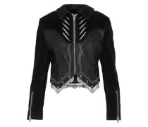 Embellished suede-paneled leather biker jacket