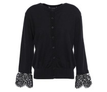 Lace-trimmed Linen And Cotton-blend Cardigan Black