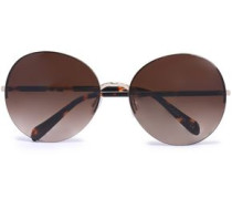 Round-frame printed acetate and silver-tone sunglasses