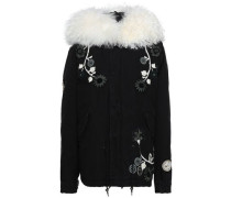 Shearling-trimmed Embroidered Cotton-canvas Hooded Coat Black