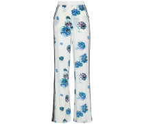 Printed Silk Crepe De Chine Wide-leg Pants White