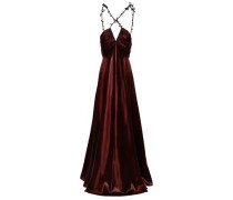 Embellished Ruched Charmeuse Gown Merlot