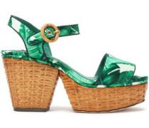 Printed silk-blend satin platform sandals