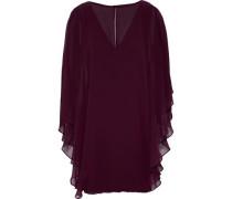 Cape-effect layered chiffon and ponte mini dress