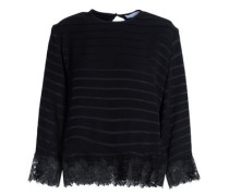 Lace-trimmed jacquard top