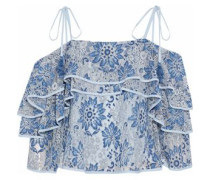 Dena cold-shoulder tiered corded lace blouse