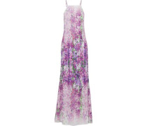 Pleated floral-print crepe gown