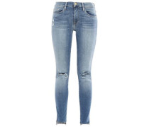 Cropped Distressed Mid-rise Skinny Jeans Light Denim  7