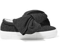 Bow-embellished Glittered Felt Slip-on Sneakers Charcoal