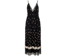Tahira Bead-embellished Georgette Maxi Slip Dress Black