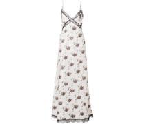 Onorina Lace-trimmed Floral-print Taffeta Maxi Dress Light Gray