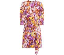 Woman Floral-print Crepe De Chine Mini Wrap Dress Purple
