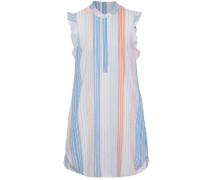 Ruffled striped cotton-blend mini dress
