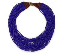 Woman Knit-trimmed Beaded Necklace Indigo