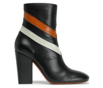 Color-block leather ankle boots