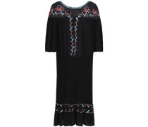 Odelia Embroidered Mesh-paneled Crinkled-voile Dress Black
