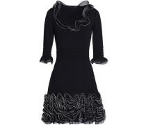 Ruffled open-knit and ponte mini dress