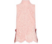 Duval bow-embellished guipure lace top