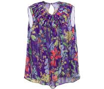Pintucked Floral-print Silk-chiffon Top